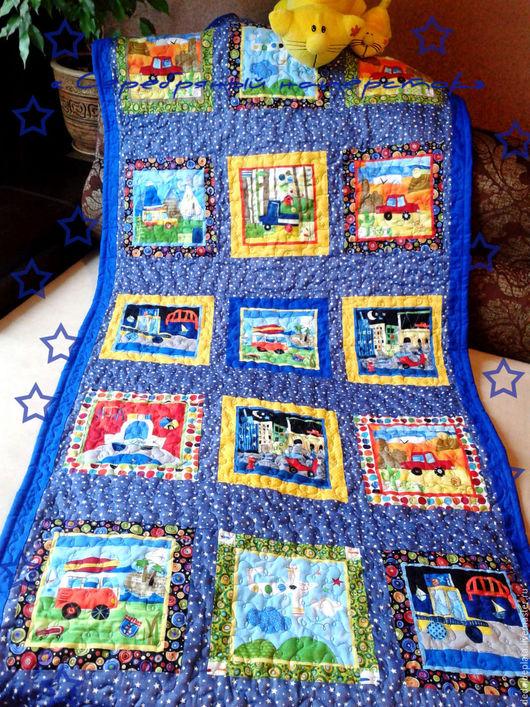 """Пледы и одеяла ручной работы. Ярмарка Мастеров - ручная работа. Купить Лоскутное покрывало """"Автомобили, автомобили..."""". Handmade. Синий"""