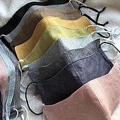 handmade. Livemaster - original item Set of 5 pieces reusable masks made of cotton with elastic bands or ties. Handmade.