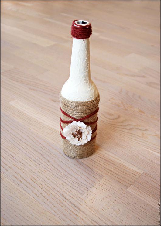 Свадебные аксессуары ручной работы. Ярмарка Мастеров - ручная работа. Купить Свадебные бутылки. Handmade. Белый, свадьба, марсала, джут