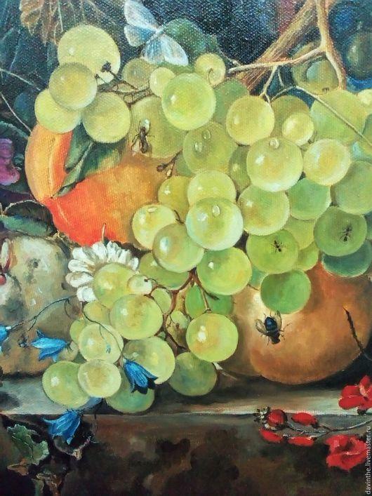 Натюрморт ручной работы. Ярмарка Мастеров - ручная работа. Купить Натюрморт с виноградом и персиками ( копия). Handmade. Комбинированный