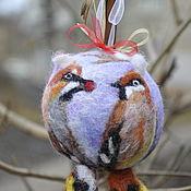 """Подарки к праздникам ручной работы. Ярмарка Мастеров - ручная работа """"Влюбленнные свиристели"""" елочный шар. Handmade."""