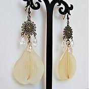 Украшения handmade. Livemaster - original item Vintage Earrings with Real White Petals Alstroemeria Resin Eco. Handmade.
