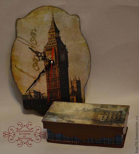 """Часы для дома ручной работы. Ярмарка Мастеров - ручная работа. Купить Часы """"Лондон"""".. Handmade. Декупаж, эксклюзивный подарок"""