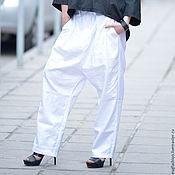 Одежда handmade. Livemaster - original item Loose pants made of linen black/white - SE0686LE. Handmade.
