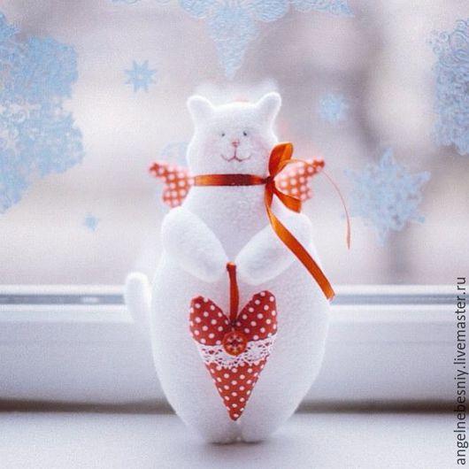 Куклы Тильды ручной работы. Ярмарка Мастеров - ручная работа. Купить Котик тильда. Handmade. Белый, тильда кукла, бисер