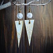 Украшения manualidades. Livemaster - hecho a mano Pendientes largos de latón con cuarzo-pendientes triangulares Boho. Handmade.