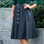 Одежда handmade. Livemaster - original item The skirt of eco-leather with buttons blue. Handmade.