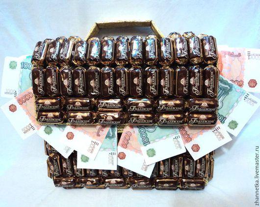 Букеты ручной работы. Ярмарка Мастеров - ручная работа. Купить Портфель с конфетами.. Handmade. Коричневый, подарок начальнику, Конфеты шоколадные