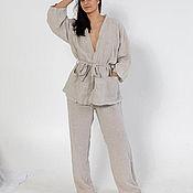 Халаты ручной работы. Ярмарка Мастеров - ручная работа Льняная пижама невесомость. Handmade.