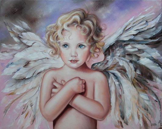 Картина с ангелочком ручной работы. Светлый ангел. Ермолаева Олеся. Ярмарка  мастеров - картина маслом. Handmade.