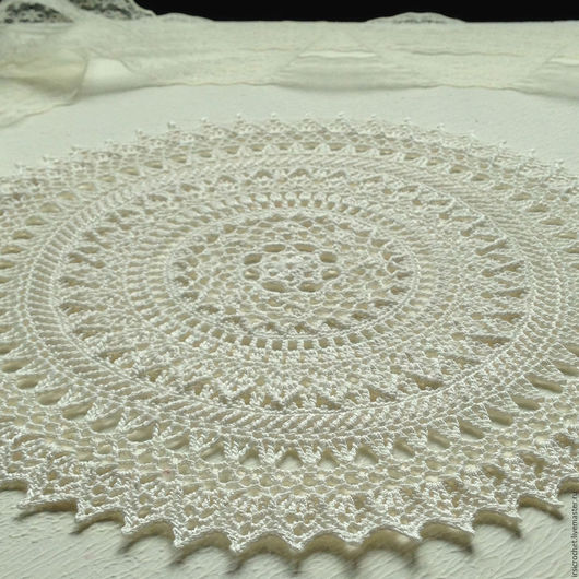 Текстиль, ковры ручной работы. Ярмарка Мастеров - ручная работа. Купить Салфетка крючком(1). Handmade. Белый, салфетка круглая, подарок