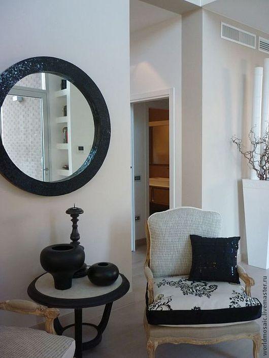 Зеркала ручной работы. Ярмарка Мастеров - ручная работа. Купить Зеркало в мозаичной раме, черная жемчужина. Handmade. Черный