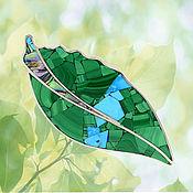 Украшения handmade. Livemaster - original item BROOCH - malachite leaf.. Handmade.