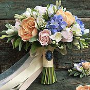 Цветы и флористика ручной работы. Ярмарка Мастеров - ручная работа Свадебный комплект с букетом невесты (растрёпыш) из полимерной глины. Handmade.