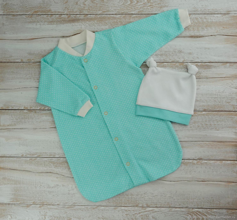 Для новорожденных, ручной работы. Ярмарка Мастеров - ручная работа. Купить Спальный мешок для новорожденного и шапочка. Handmade. Детский комплект
