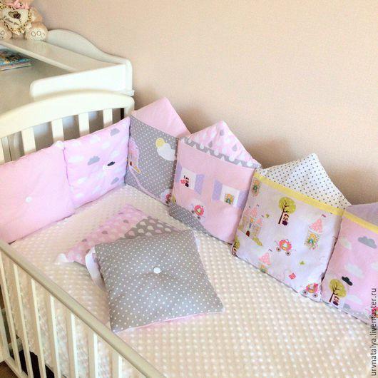 Для новорожденных, ручной работы. Ярмарка Мастеров - ручная работа. Купить Комплект для детской кроватки. Handmade. Комбинированный, бортики в кроватку