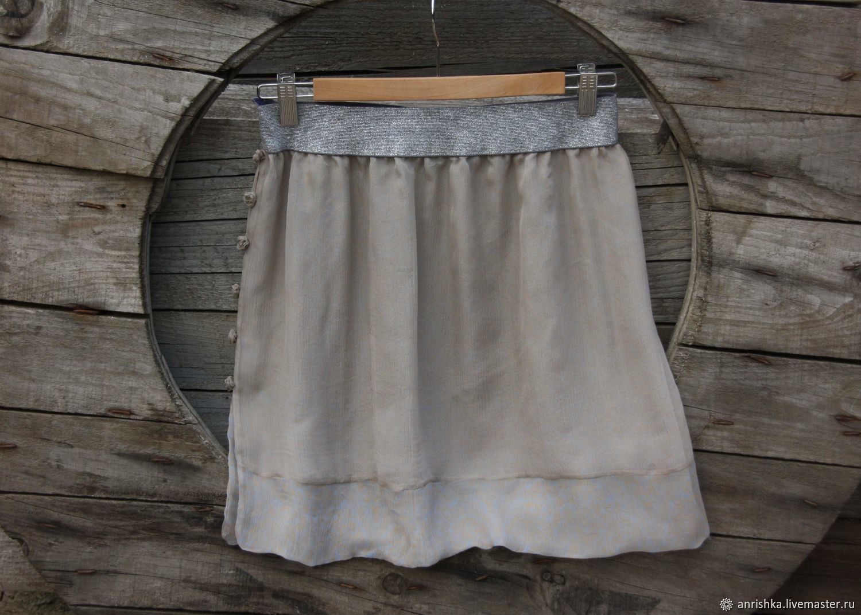Silk skirt at the silver elastic. Bilateral. roses. Silk, Skirts, St. Petersburg,  Фото №1