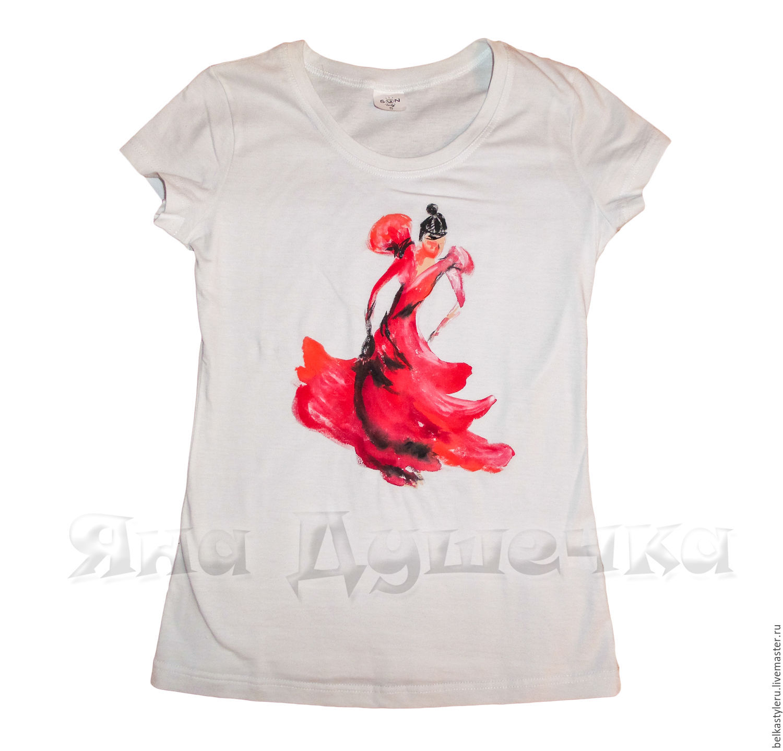 T-shirt design handmade - T Shirts Singlets Handmade Order T Shirt Hand Painted Flamenco Belkastyle