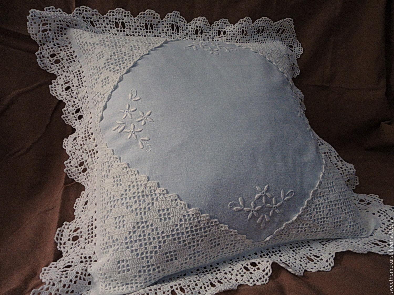 Наволочка с кружевом и вышивкой ручной работы, Подушки, Белая,  Фото №1