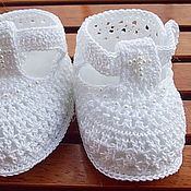 Работы для детей, handmade. Livemaster - original item Booties for baptism