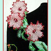 """Украшения ручной работы. Ярмарка Мастеров - ручная работа Комплект """"Розовый вьюн"""". Handmade."""