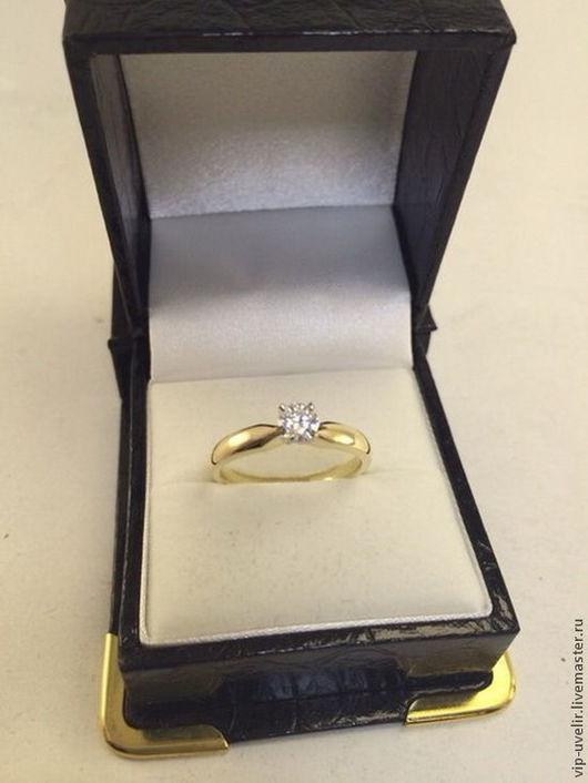 Кольца ручной работы. Ярмарка Мастеров - ручная работа. Купить Женское кольцо с большим бриллиантом из желтого золота 585 пробы. Handmade.