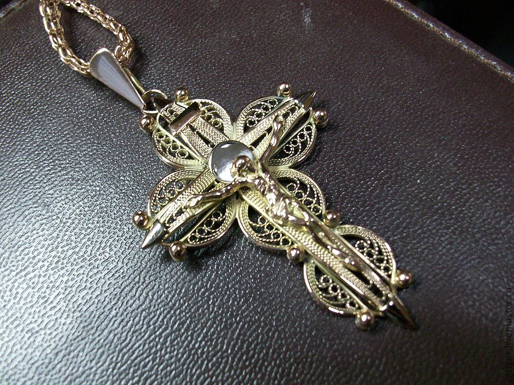 Крест-филигран,золото - купить в интернет-магазине на Ярмарк.