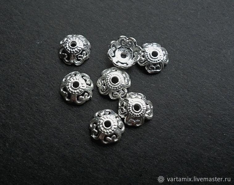 Шапочки для бусин серебро 925, Фурнитура, Москва,  Фото №1