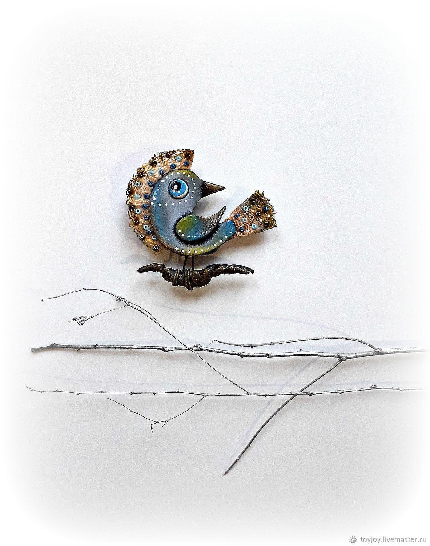 Брошь. Птичка  с хохолком, Брошь-булавка, Владивосток,  Фото №1