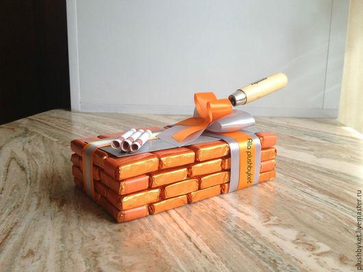 Персональные подарки ручной работы. Ярмарка Мастеров - ручная работа. Купить Подарок строителю сладкий кирпич. Handmade. Рыжий