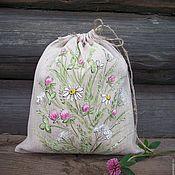 Для дома и интерьера handmade. Livemaster - original item Linen bag with painting... Summer memories.... Handmade.