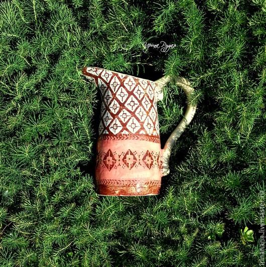 Вазы ручной работы. Ярмарка Мастеров - ручная работа. Купить Керамические кувшины с орнаментами по мотивам латышских варежек. Handmade. Зеленый