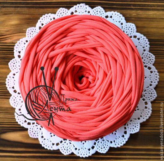 """Вязание ручной работы. Ярмарка Мастеров - ручная работа. Купить Пряжа """"Лента"""" (цвет коралл). Handmade. Пряжа, пряжа лента"""