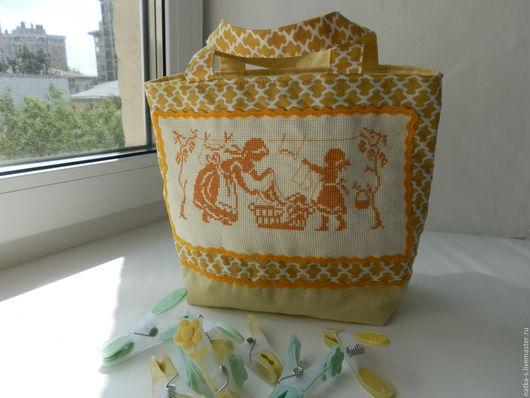 Ванная комната ручной работы. Ярмарка Мастеров - ручная работа. Купить Сумочка для ванной комнаты. Handmade. Желтый, сумочка, прищепки