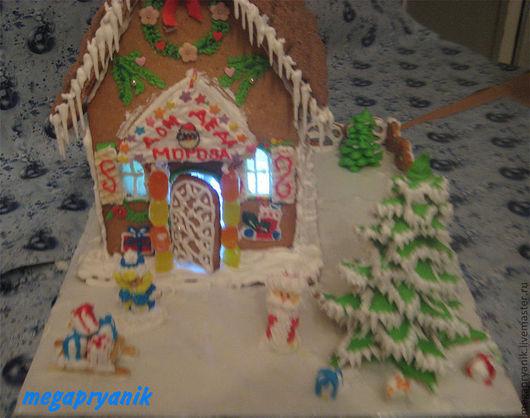 Кулинарные сувениры ручной работы. Ярмарка Мастеров - ручная работа. Купить Пряничный домик Деда Мороза средний. Handmade. Коричневый