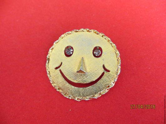 Винтажные украшения. Ярмарка Мастеров - ручная работа. Купить Брошь-кулон Смайлик США. Handmade. Золотой, брошка, подвеска, США