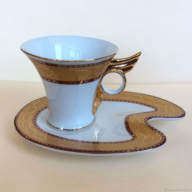 Винтажная посуда. Ярмарка Мастеров - ручная работа. Купить Винтаж: Чайная пара крыло Португалия. Handmade. Чашка с блюдцем, деколь