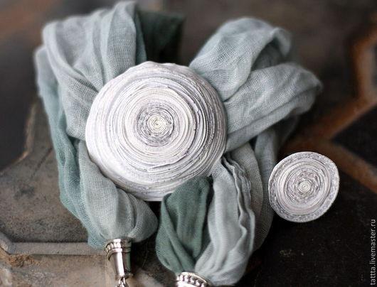 Комплекты украшений ручной работы. Ярмарка Мастеров - ручная работа. Купить Копия работы кулон и кольцо из полимерной сегодня облачно. Handmade.