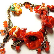 Украшения handmade. Livemaster - original item Bracelet Flowers, corals and passion... Handmade.