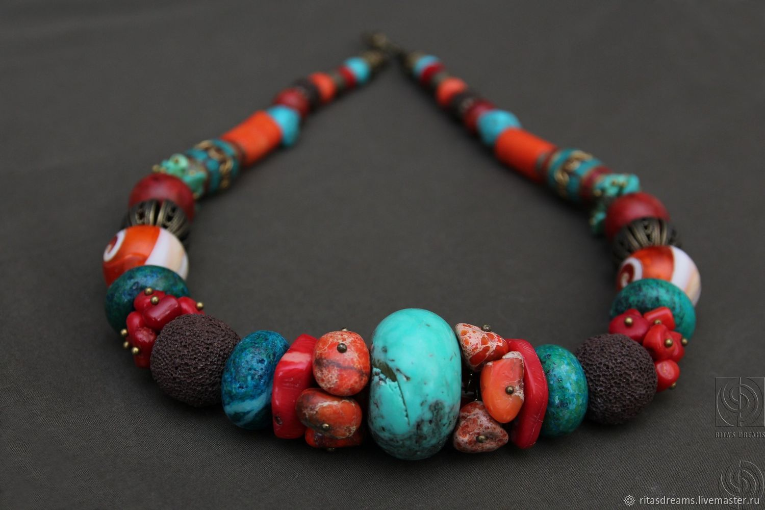 Bright, large beads created from gorgeous natural stones: red and orange coral, turquoise, howlite, chrysocolla, Jasper, shell, and volcanic lava, Tibetan beads handmade.