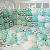 Работы для детей, ручной работы. Ярмарка Мастеров - ручная работа Бортики подушки в детскую кроватку в стиле бомбон. Handmade.