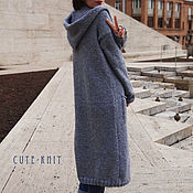 Одежда handmade. Livemaster - original item Long knitted cardigan with pockets and hood. Handmade.