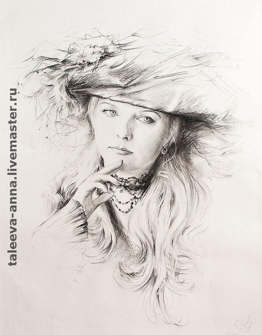"""Люди, ручной работы. Ярмарка Мастеров - ручная работа. Купить Портрет """"Незнакомка"""".. Handmade. Живописный рисунок, уголь, графика"""
