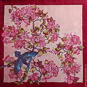 """Аксессуары ручной работы. Ярмарка Мастеров - ручная работа шелковый батик платок """"Персик цветет"""". Handmade."""