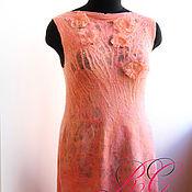 Одежда ручной работы. Ярмарка Мастеров - ручная работа Валяное платье Спелый персик. Handmade.