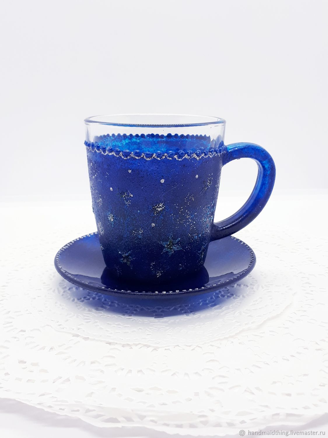 Tea pair, stained glass ' Blue night', Mugs, Moscow,  Фото №1