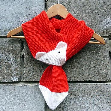 Accessories handmade. Livemaster - original item Scarves: Scarf knitted woolen red Fox Serosort. Handmade.