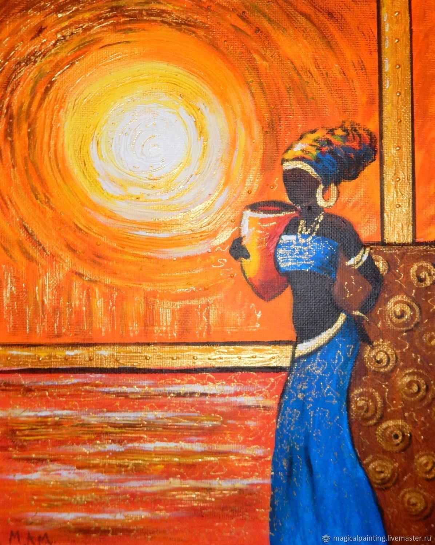 Картина Африканка в синем, Картины, Санкт-Петербург,  Фото №1