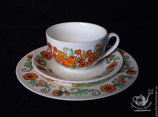 """Сервизы, чайные пары ручной работы. Ярмарка Мастеров - ручная работа. Купить чайный сет """"Русские узоры на фарфоре"""". Handmade."""