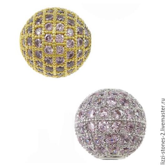 Бусина шар с розовыми кристаллаим 10 мм золото и серебро (Milano) Евгения (Lizzi-stones-2)
